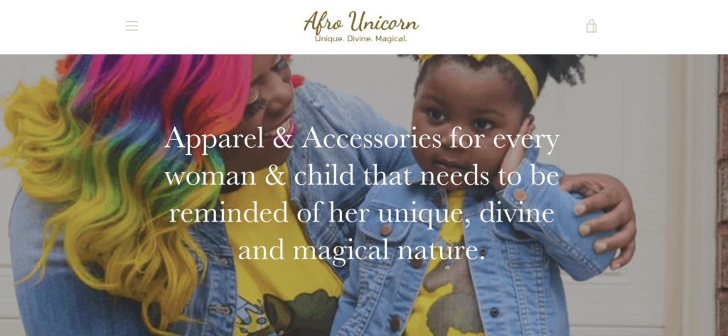 Afro Unicorn homepage