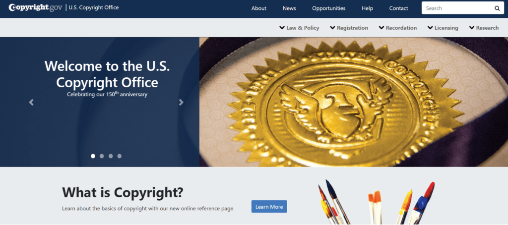 Homepage of the US Copyright Office
