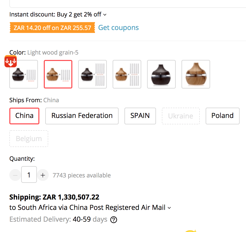AliExpress shipping times to South Africa showing 40-59 days