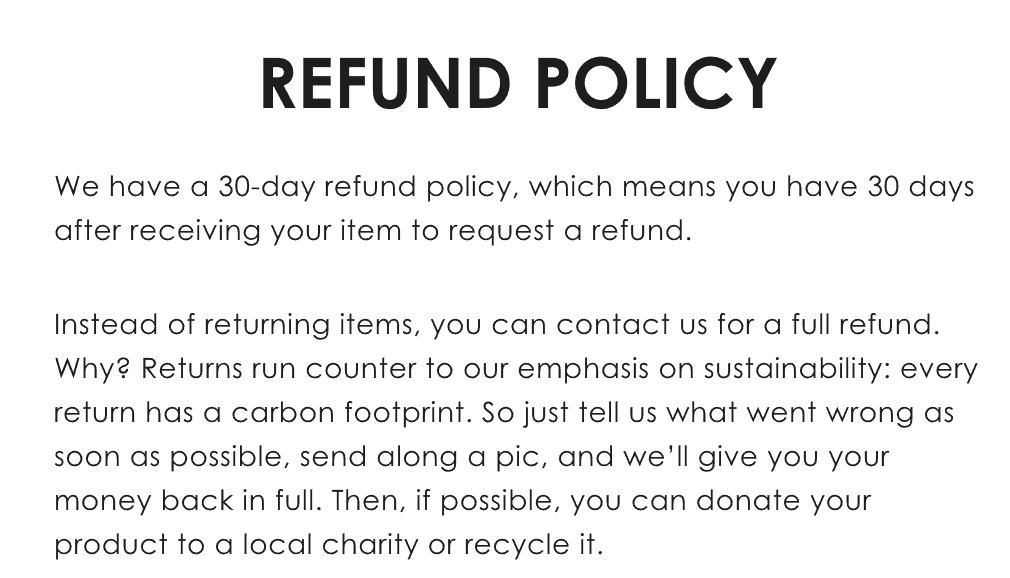 Refund policy that does not involve returns