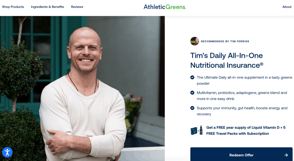 Tim Ferriss affiliate for Athletic Greens