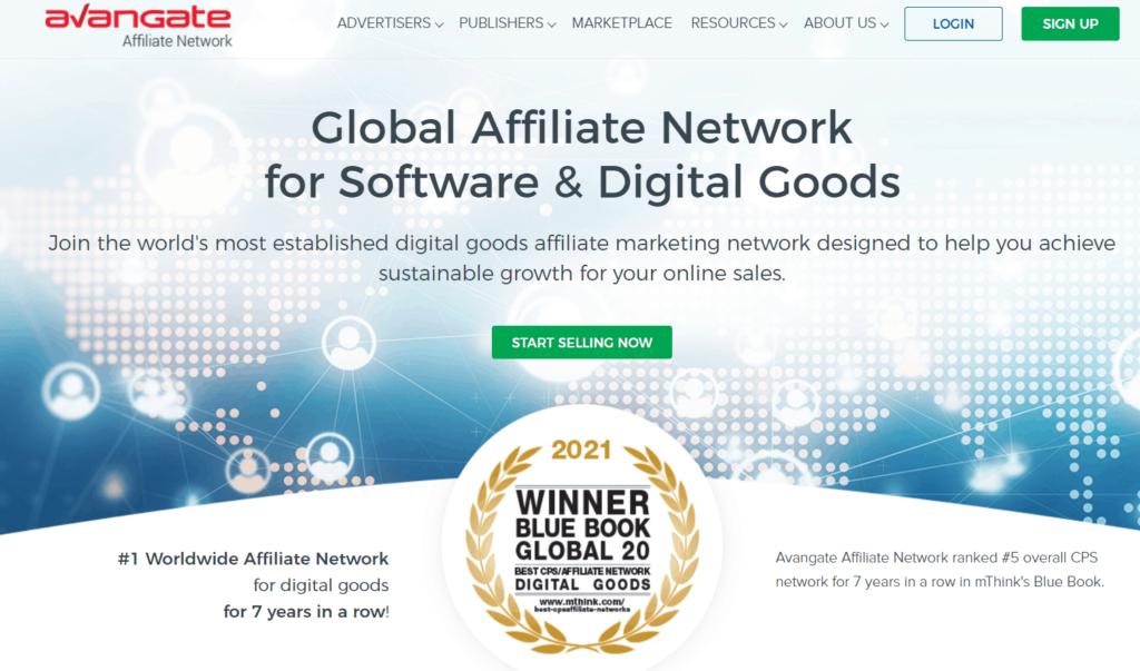 Homepage of Avangate Affiliate Network