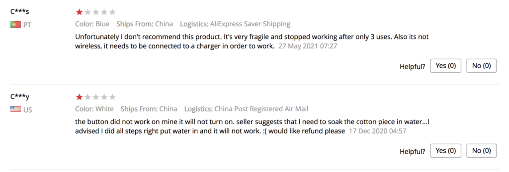 Poor product reviews in AliExpress