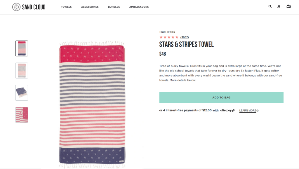 Beach Towel from Sand Cloud private label dropshipping product example