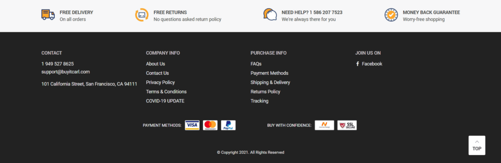 Great footer example for general dropshipping stores