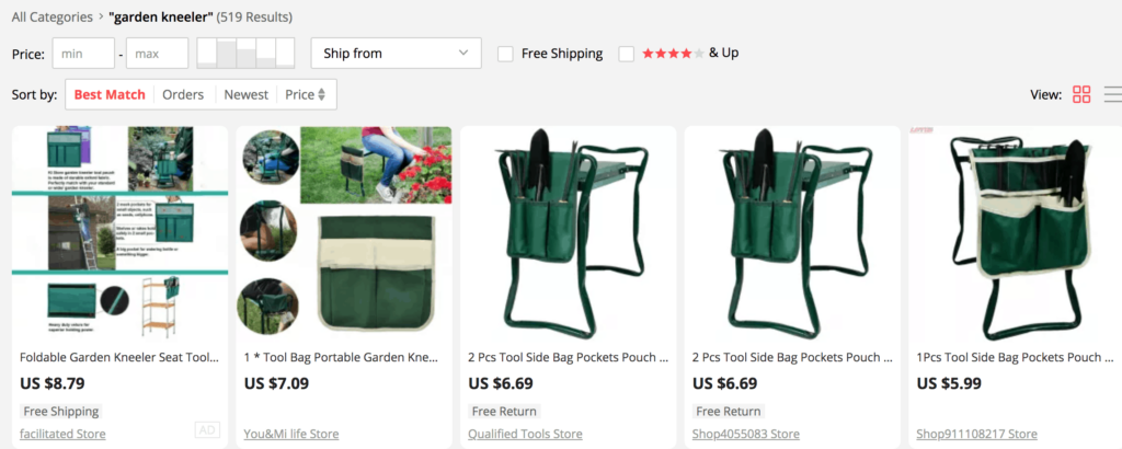 Best match products for alternative dropshipping suppliers on AliExpress
