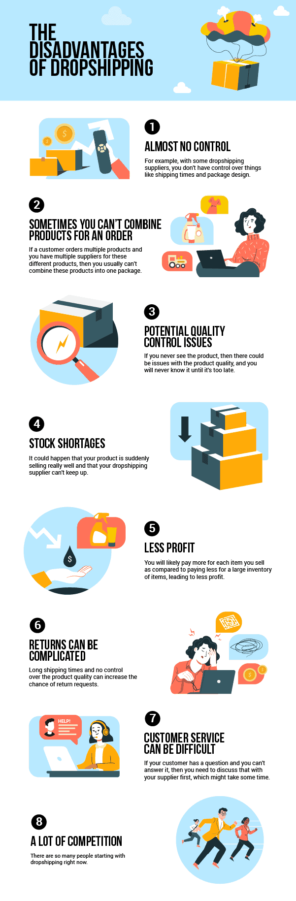 The disadvantages of dropshipping - Infographic