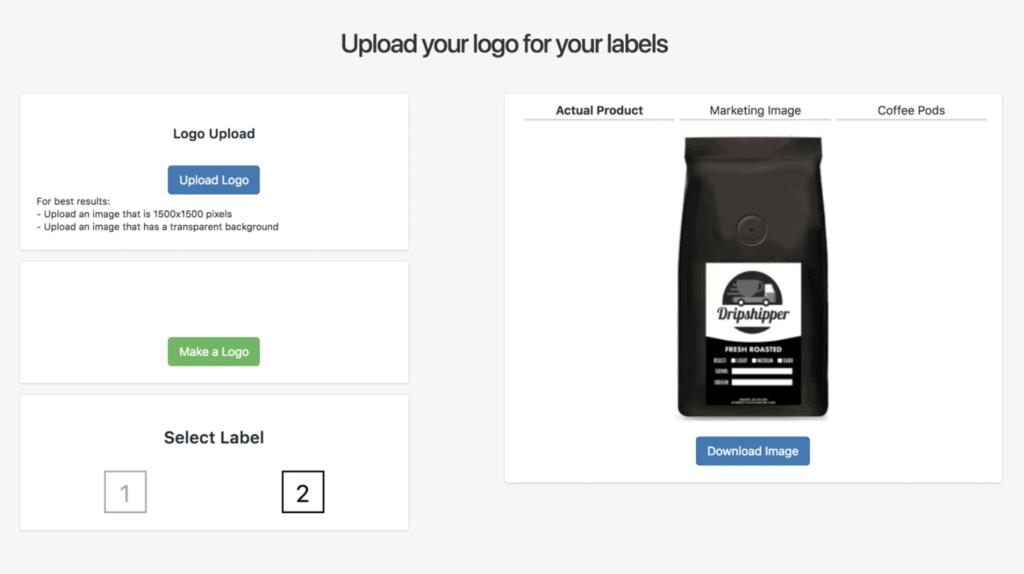 Create your own coffee packaging using Dripshipper