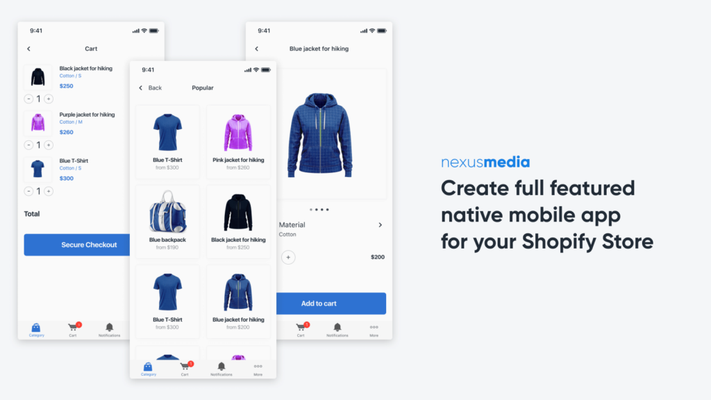 Example of the EasyMobile Shopify app