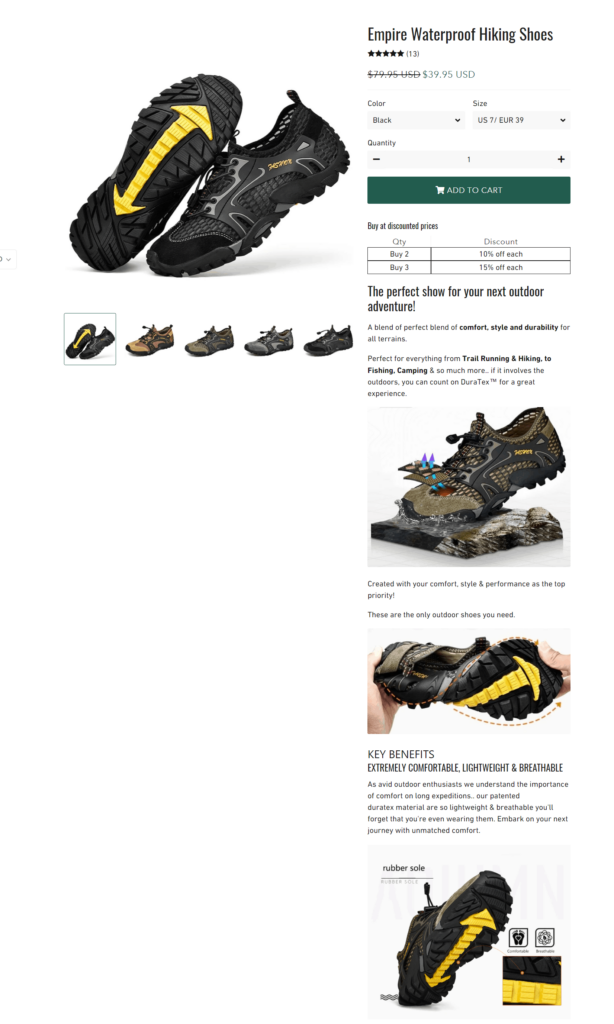 Empire Hiking good product page example
