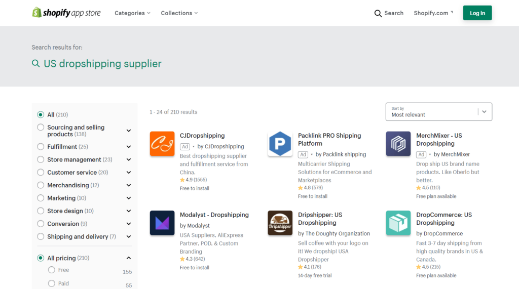Finding US dropshipping suppliers on the Shopify apps store