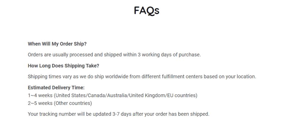 FAQ page general dropshipping store
