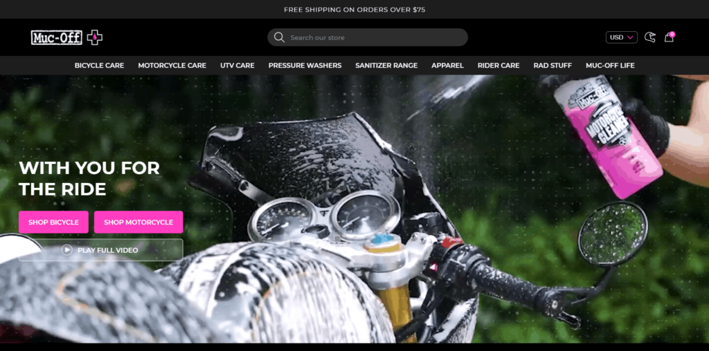 Muc-off cleaning products homepage