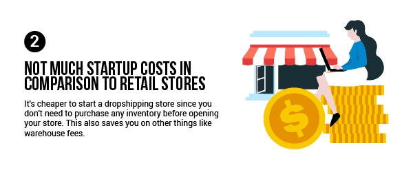 Dropshipping advantage: Not much startup costs in comparison to retail stores