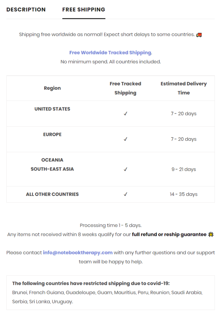 Excellent shipping tab in product description example