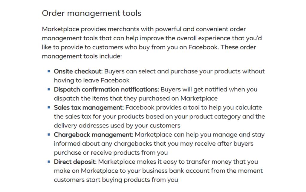 Facebook Marketplace order management tools