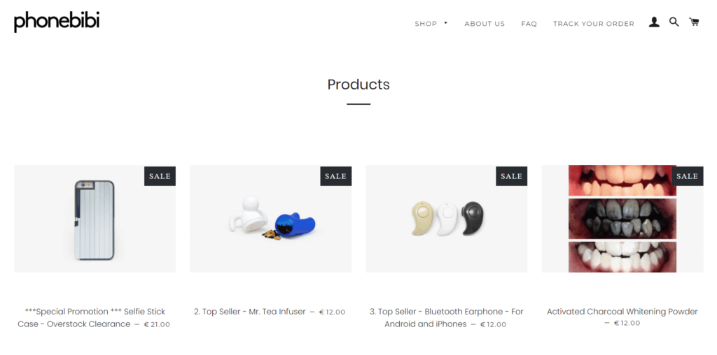 General dropshipping store example homepage Phonebibi