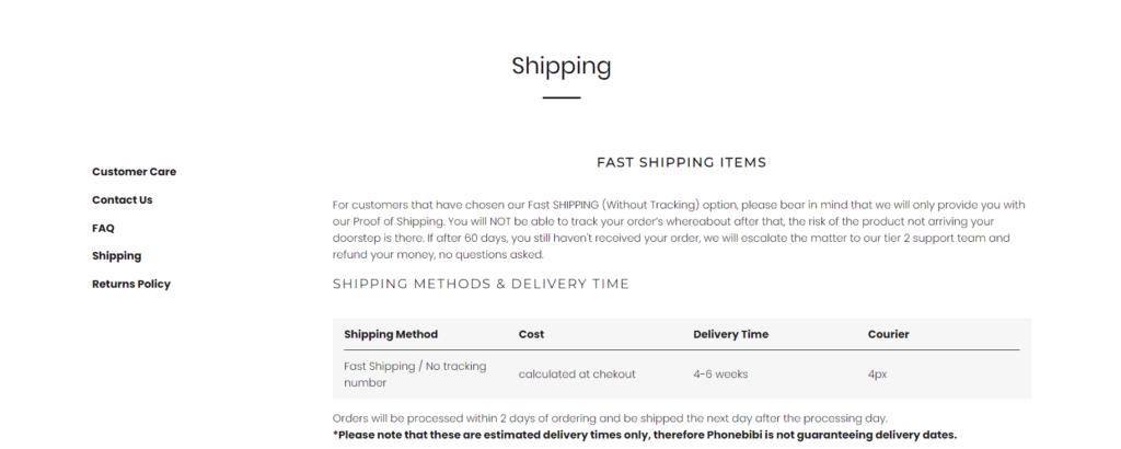 Phonebibi shipping page