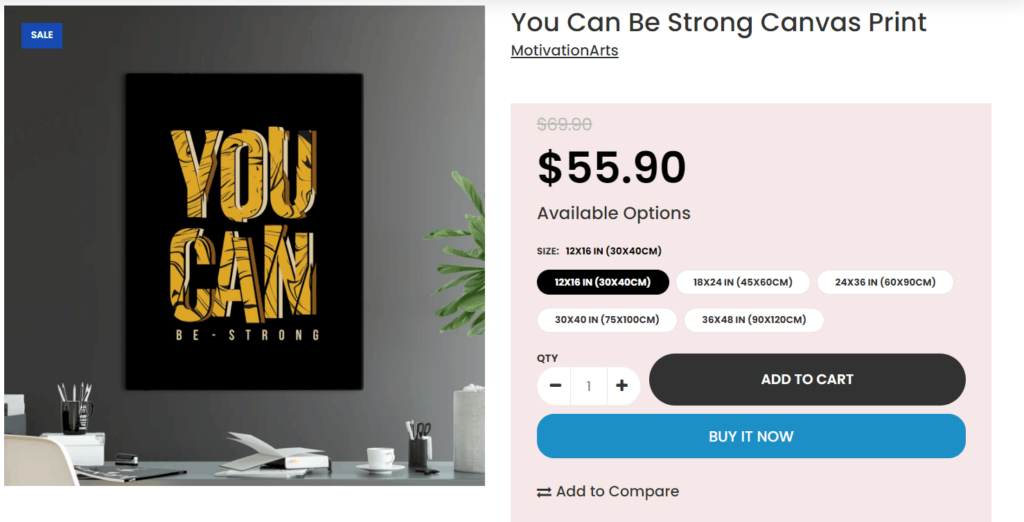 Poster private label dropshipping product example