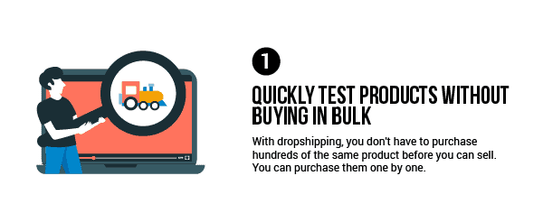 Dropshipping advantage: Quickly test products without buying in bulk
