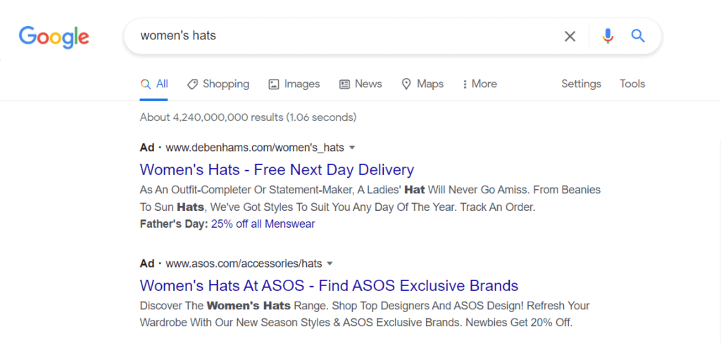 An example of Google Search Ads