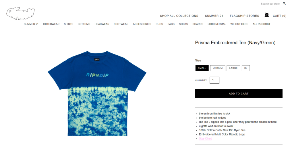 RipnDip t-shirt private label dropshipping product example