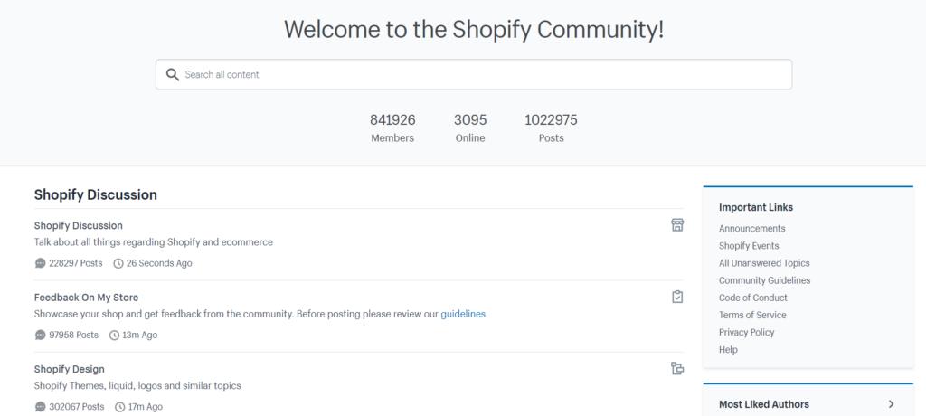 Shopify community screenshot