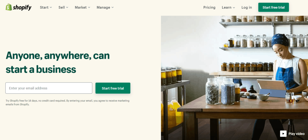 Homepage of Shopify