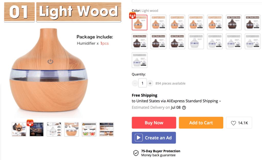 Single quantity purchase on AliExpress