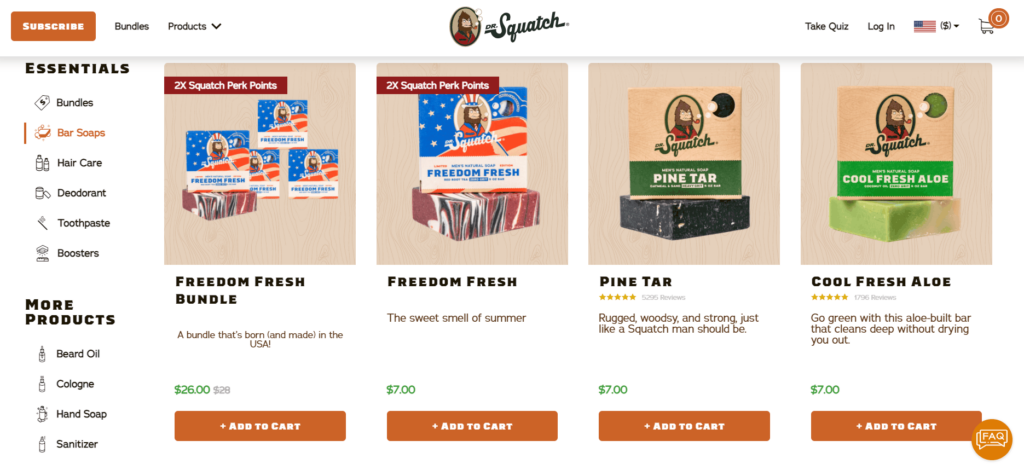 Soap Dr. Squatch private label dropshipping product example