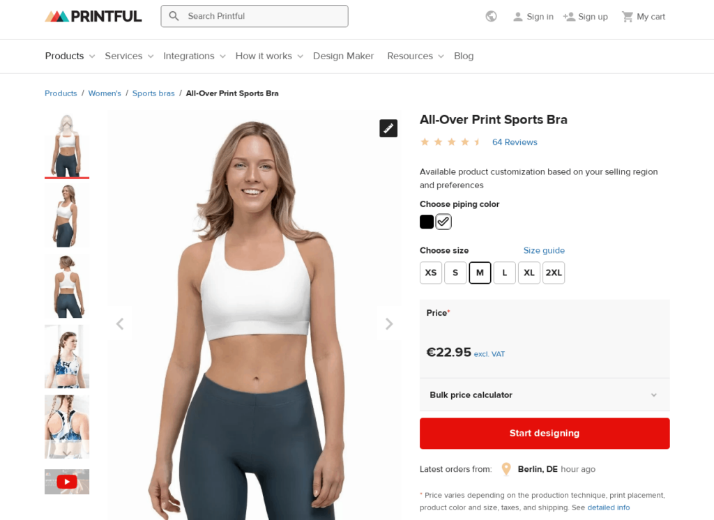 Printful Sports Bra private label dropshipping product example