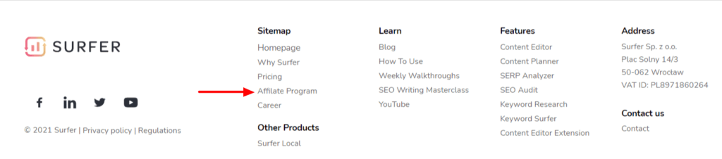 Example of an affiliate program in the footer menu
