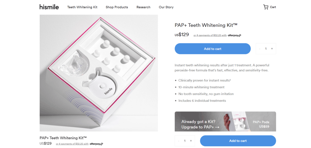 Teeth Whitening kit private label dropshipping product example HiSmile