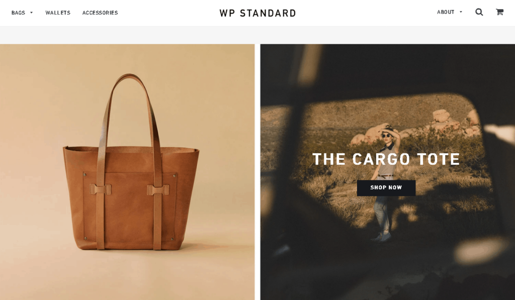 An example homepage of a successful store