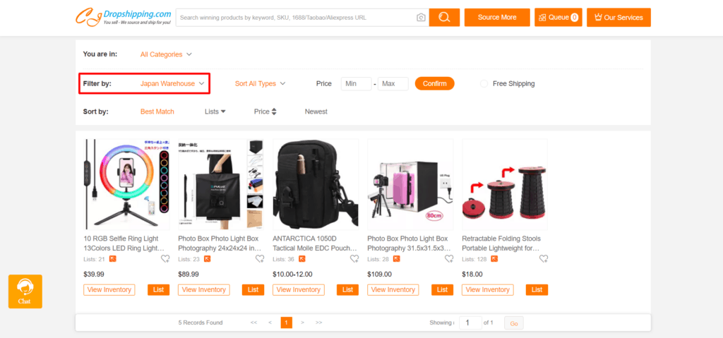 Products on CJdropshipping from a Japanese warehouse