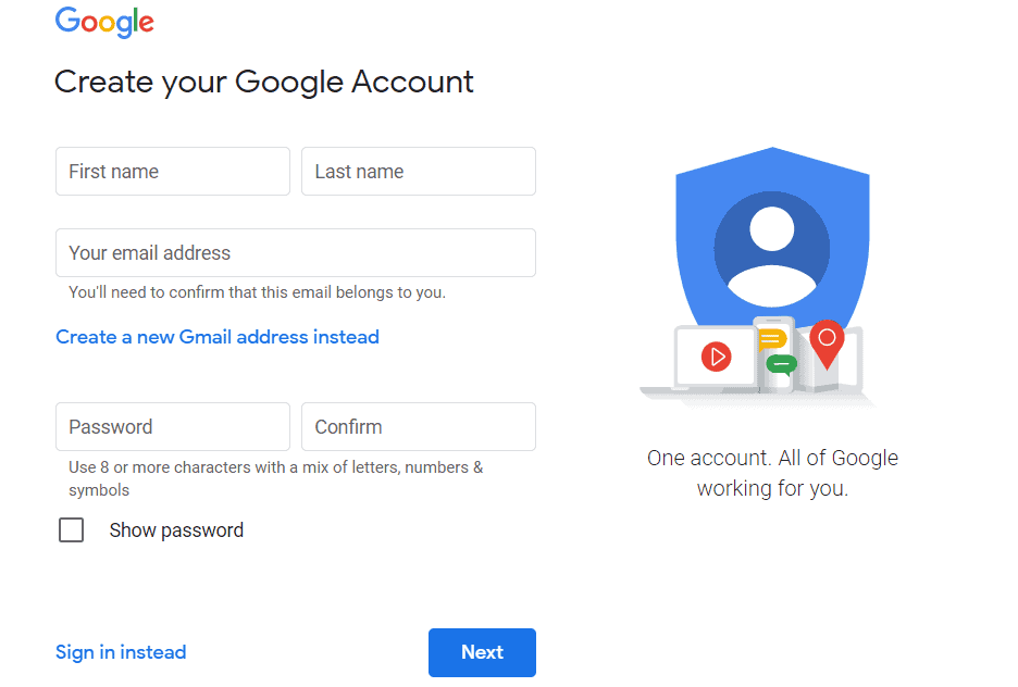 An image showing the page where you can create a Google account.