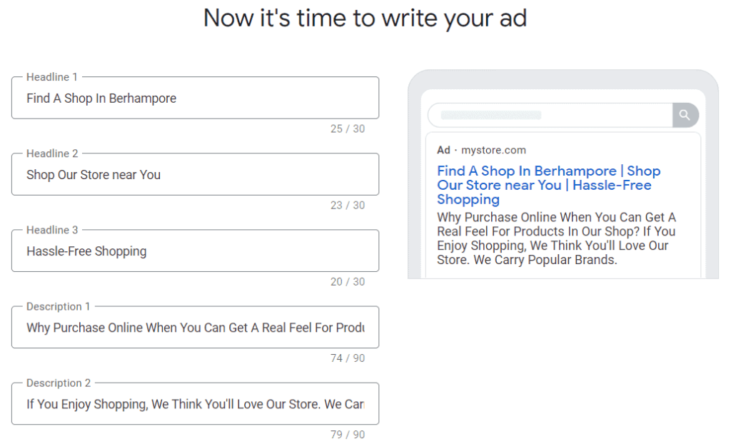 An example of the Google Ads setup wizard