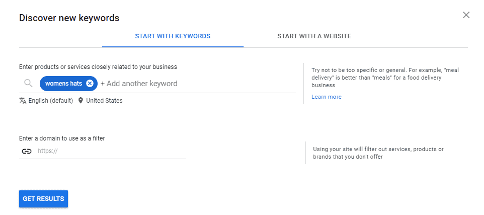 The discover new keywords page on Google Ads