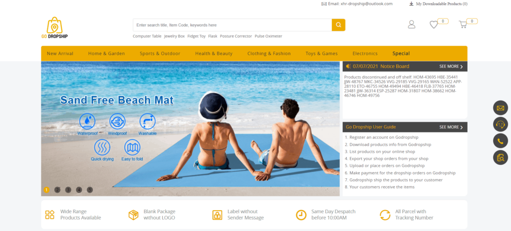 Go Dropship homepage