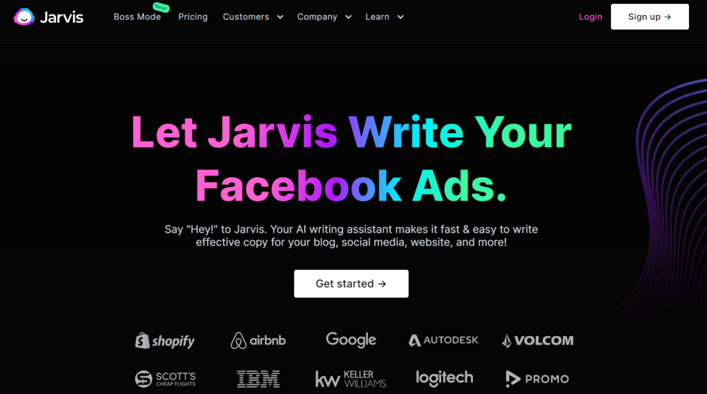 Homepage of Jarvis.ai