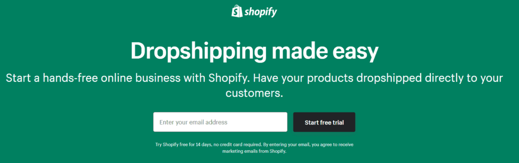 An example of how Shopify advertise dropshipping