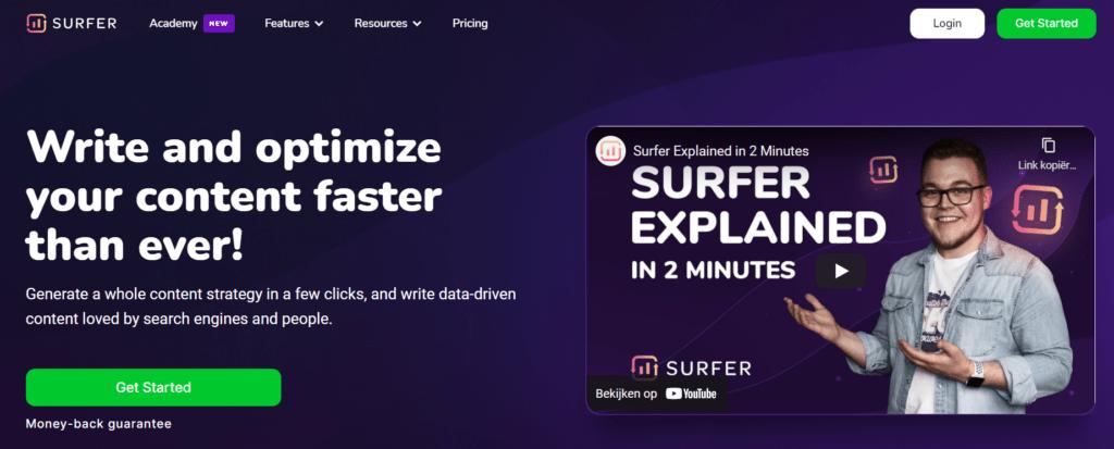 Homepage of SurferSEO