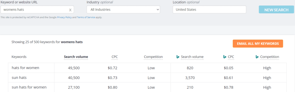 An example of the WordStream Keyword Tool in action