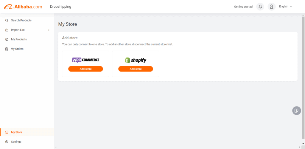 Connecting the Alibaba Dropshipping Center to your store