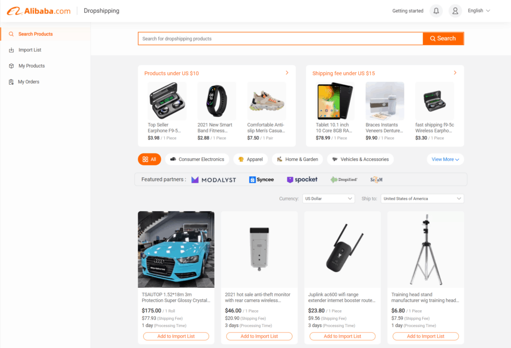 Homepage of the Alibaba Dropshipping Center
