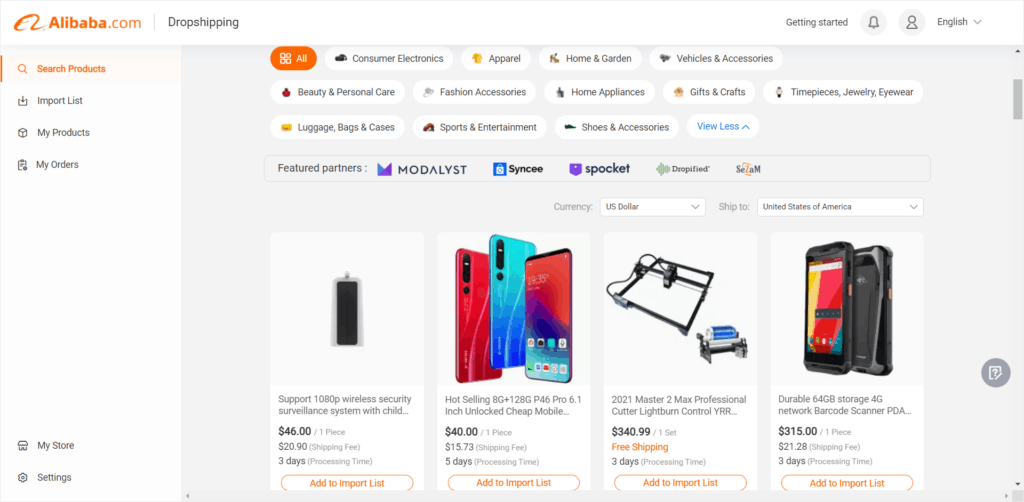 Alibaba Dropshipping Center how to search products
