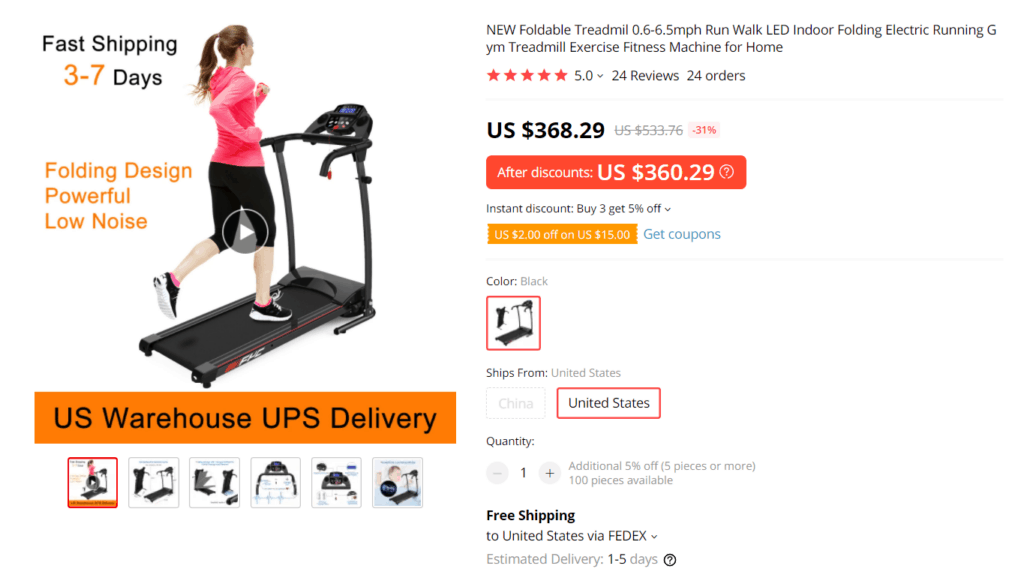 AliExpress high-ticket product example