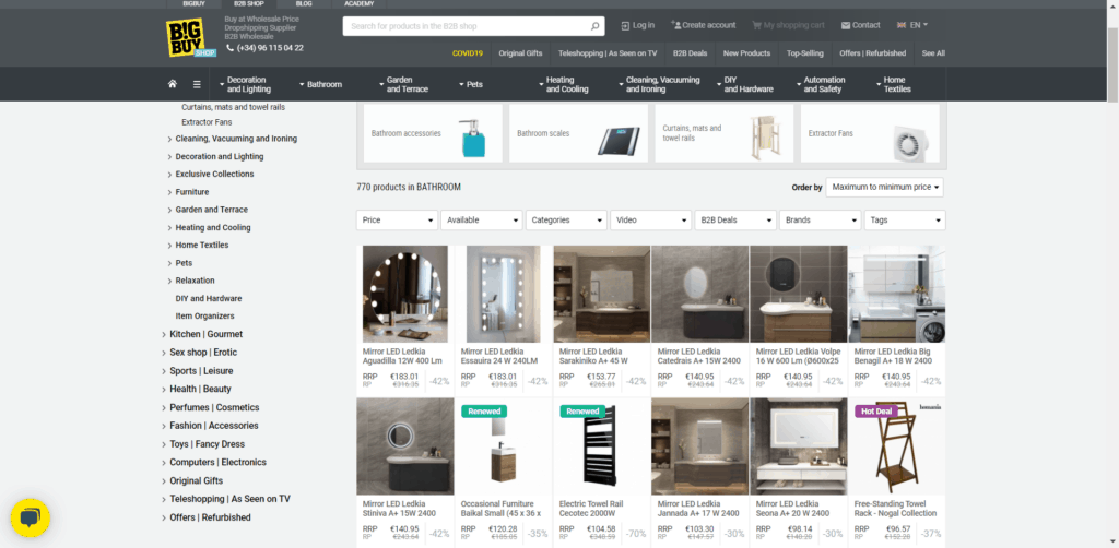 High-ticket dropshipping product examples on BigBuy