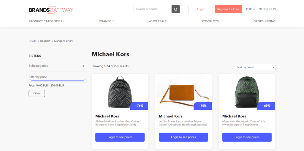 Micheal Kors high-ticket dropshipping products on Brandsgateway
