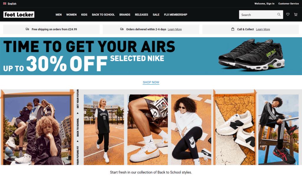 Foot Locker homepage
